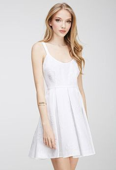 Current Owned White Dress, Roses embroidered