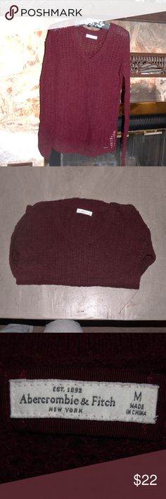 Abercrombie & Fitch layering sweater abercrombie & Fitch womens layering sweater - burgundy - size M - lightweight  wool/nylon blend- EUC Abercrombie & Fitch Sweaters