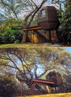 Inspired by the shape of a beehive, this 320-square-feet treehouse has uniquely patterned wood cladding on the outside. There is also an outdoor deck and 100-square-feet hammock that is nestled into the twirling branches of the Live Oak tree supporting the treehouse. Building A Treehouse, Building A House, Tree Support, Live Oak Trees, Two Trees, Wood Cladding, Another World, Square Feet, Mother Nature