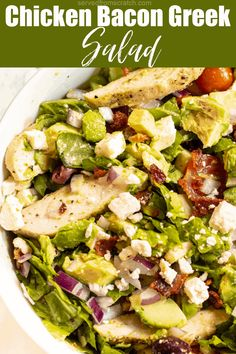 Grilled Chicken Recipes, Chicken Bacon, Easy Chicken Recipes, Meat Recipes, Quick Dinner Recipes, Easy Salads, Healthy Salad Recipes, Clean Eating Salads, Greek Salad