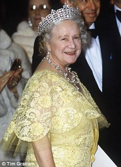 Crowning glory: The Queen Mother inherited the tiara from Hon. Mrs Greville from Boucheron.