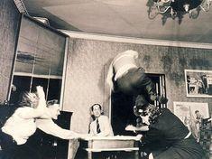 "Sven Turck, ""The medium levitating"", 1940 - 45, Gelatin silver print. http://www.dieselpunks.org/profiles/blogs/photos-of-a-seance-1940"