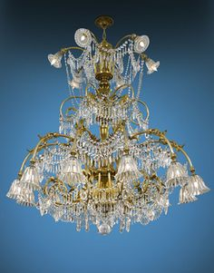 Antique Chandeliers, Baccarat Crystal, Art Deco Baccarat Chandelier ~ M.S. Rau Antiques circa 1920