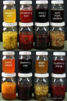 DIY no cook fruit, herb and honey syrups that can be added to teas, water, ice cream, yogurt, etc.