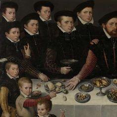 Family Portrait of Pierre de Moucheron, Merchant in Middelburg and Antwerp, his Wife Isabeau de Gerbier, their eighteen Children, their Son-in-Law Allard de la Dale and first Grandchild, Anonymous, 1563 - Rijksmuseum, detail