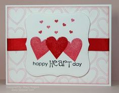 Happy Heart Day + Valentine's Day Card + Red Rubber Designs I Heart You stamp set
