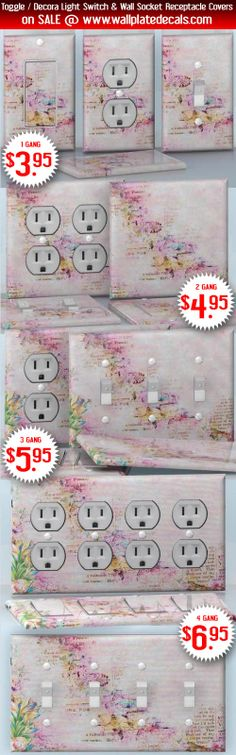 DIY Do It Yourself Home Decor - Easy to apply wall plate wraps   Pink Blossoming  Beautiful Cherry blossoms  wallplate skin stickers for single, double, triple and quadruple Toggle and Decora Light Switches, Wall Socket Duplex Receptacles, and blank decals without inside cuts for special outlets   On SALE now only $3.95 - $6.95