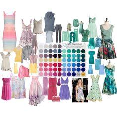 Light summer season color palette outfits