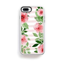 Pink flower boarder left and right on pink stripes for iPhone 7 Plus