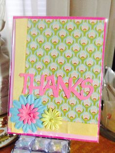 Thanks pink greeting card by Viviansgreetings on Etsy, $4.00