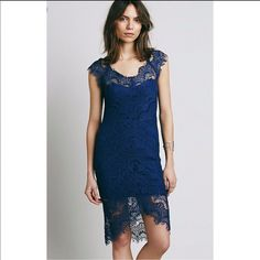Free People Intimate Navy Blue Lace Dress