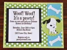Items Similar To Puppy Invitations Dog Invites Polka Dots A2 Birthday Set Of 6 Woof Bark Dogbone On Etsy