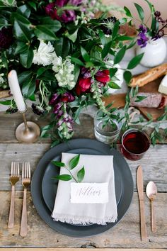 dinner place setting with jewel tones