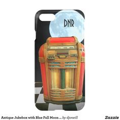 Antique Jukebox with Blue Full Moon your Initials iPhone 7 Case. Take your new tech to the past with this picture of the iPad predecessor. The Great Grandpa of the Mp3. Pre-historic Pandora. Protect that new smart cell phone as soon as you get it by preordering from Zazzle. Don't be standing alone with no dream in your heart or love of your own. Pun another dime in and spin a platter of your favorite vinyl record.  May I have this dance?