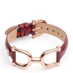 Tommy Hilfiger Mariner Bracelet. Eye-catching Mariner link bracelet with rose gold-plated stainless steel hardware and a burgundy leather strap makes for a sophisticated favourite in your jewellery box.