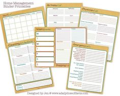 Home Management Binder Printables. Calendar, weekly menu, emergency info and more!