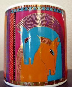 Laurel Burch EMBRACING HORSES Mug Signed Large Cup Collectible 1991 New Rare