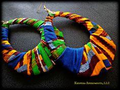 Large African Fabric Hoop Earrings, Kente Fabric Hoop Earrings