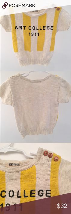 Bobo Choses short sleeve sweater Toddler 2-3 Bobo Choses yarn knit sweater.  Slim fit with beautiful wood buttons. Excellent condition and only worn a couple of times! Vintage look obtained through garment-dyeing. Machine wash. Bobo Choses Shirts & Tops Sweaters