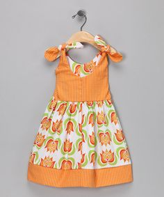 Take a look at this Lotus Orange Stripe Dress - Infant, Toddler & Girls by Bebe Bella Designs on #zulily today!