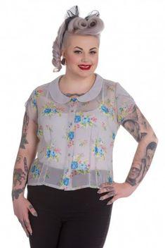 Plus Size Beautiful Grey Vintage Floral Blouse Top Vintage Sheer 18 20 22 Rockabilly, Floral Tops, Graphic Sweatshirt, Sweatshirts, Sweaters, Women, Fashion, Moda, Top Flowers