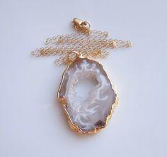 Geode Necklace in Gold, OOAK  www.etsy.com/shop/443Jewelry