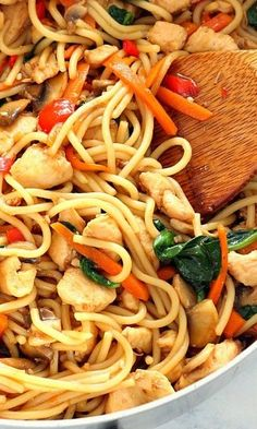Easy Chicken Lo Mein Recipe – quick and easy homemade chicken, vegetables and noodles dish with teriyaki sauce. Much better than take-out.
