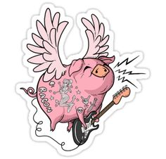 """Pigs Rock!"" Stickers by rudyfaber 