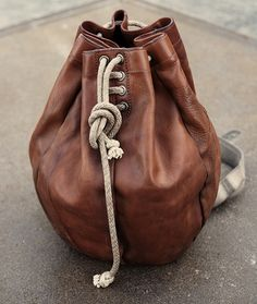 leather drawstring bag/purse