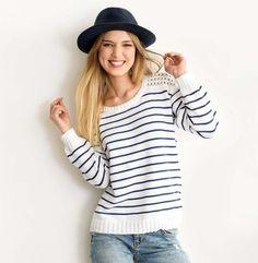 d21071e5a798 7 pulls à tricoter pour les marinière addicts Pull Mariniere Femme