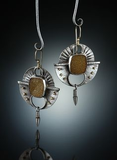 Druzy Quartz Earrings. Fabricated Sterling Silver and 14k. www.amybuettner.com https://www.facebook.com/pages/Metalsmiths-Amy-Buettner-Tucker-Glasow/101876779907812?ref=hl https://www.etsy.com/people/amybuettner http://instagram.com/amybuettnertuckerglasow