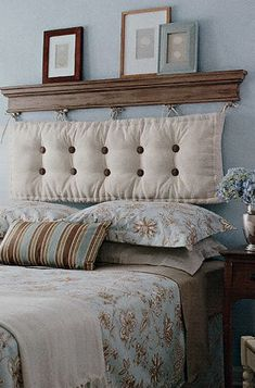 DIY shelf and cushion headboard.