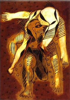 Francis Picabia - Les acrobates (Gymnastique banale), 1925, oil on wood, Dada, Private collection
