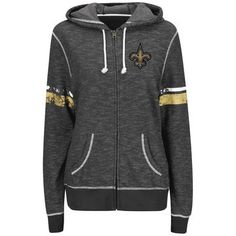 Women's New Orleans Saints Majestic Charcoal Plus Size Athletic Tradition Full-Zip Hoodie