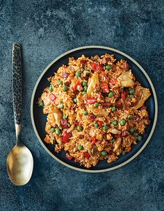 Chicken and Chorizo Paella with Roasted Peppers