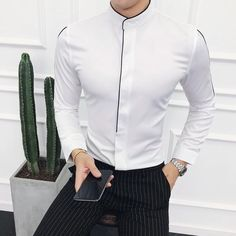 Contrast Piping Stand Collar Shirt Long Sleeve Solid Designer - Men's style, accessories, mens fashion trends 2020 Slim Fit Dress Shirts, Fitted Dress Shirts, Long Sleeve Shirt Dress, Long Sleeve Shirts, Stand Collar Shirt, Collar Shirts, Black And White Outfit For Men, Gents Shirts, Formal Men Outfit