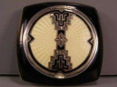 1920s Antique Sterling Silver Guilloche Art Deco Enamel Compact Powder Jar | eBay
