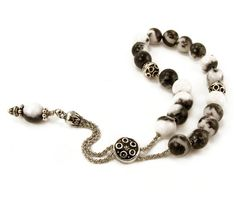 Obsidian Worry Beads Greek Komboloi Silver by sunnybeadsbythesea, $36.00