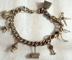 Vintage SilverPlate Metal Charm Bracelet Miniature Scissors Stop Sign Cow Bell