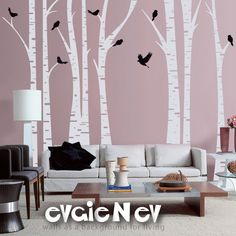 Birch Trees Wall Decal -   Forest with Birds - evgieNev
