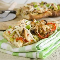 Healthy Thai Chicken Pizza. Vegan optional recipe included.