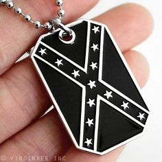 "CONFEDERATE STATES AMERICA FLAG B&W DIXIE REBEL PENDANT DOG TAG CHAIN NECKLACE by VENICEBEE. $7.95. 20098 * BRAND NEW WELL-MADE ITEM! SECURE AND SPEEDY DELIVERY FROM LAS VEGAS, NEVADA- THE SILVER STATE! GREAT ITEM! HONEST PRICE! SUPERB QUALITY! SIMPLY THE BEST! CONFEDERATE STATES OF AMERICA FLAG CSA SUBDUED BLACK & WHITE COLORS PENDANT NECKLACE. THE CONFEDERATE FLAG OF AMERICA (CSA) is also called the ""Rebel"" or ""Battle"" or ""Dixie"" flag- a widely recognized SYMBOL OF..."