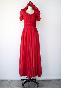 VINTAGE 1940S RED SILK CHIFFON HOODED GOWN | Scarlet Maiden Gown | #1940s
