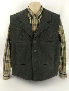 b558419892a29 Wyoming Traders Virgin Wool Vest Mens XL Gray Metal Buttons Lined Lapels  #fashion #clothing