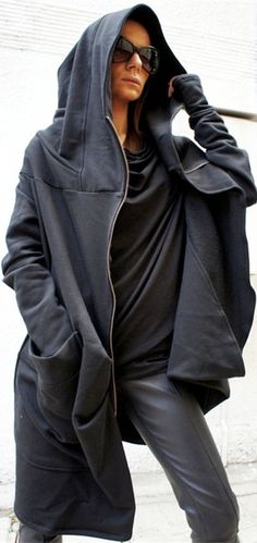 Hooded Irregular Zipper Trench Coat