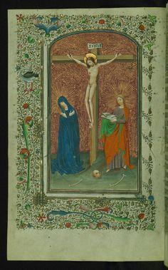 Book of Hours Crucifixion Walters Manuscript W.173 fol. 15v by Walters Art Museum Illuminated Manuscripts