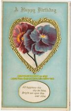 PC DB LITHO EMB A Happy Birthday Gold Heart Pansies Pansy Flowers Postcard