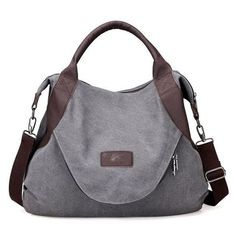 Wyhui Large Pocket Casual Women s Handbag Shoulder Cross body Handbags  Canvas Leather Large Capacity Bags For Women Gray one size 479ff96524611