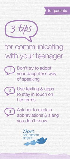 Talking with your daughter can sometimes feel like she is speaking another language—one called Teenage Slang. You don't have to feel excluded, though. Be open to learning, remain willing talk to her about anything, and above all, let her know you're interested in what's going on in her life. For more self-esteem articles, activities, and advice—head to www.pinterest.com/selfesteem. #SelfEsteemProject