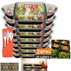 Meal Prep Containers 24 Pack Bento Lunch Food Storage Box BPA FrPortion Control #HomeNative